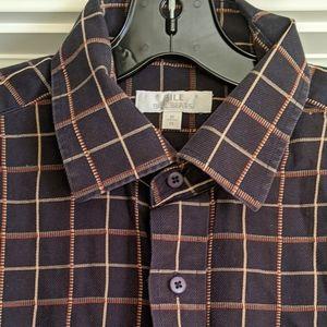 Vtg Bill Blass Windowpane Button Down Shirt